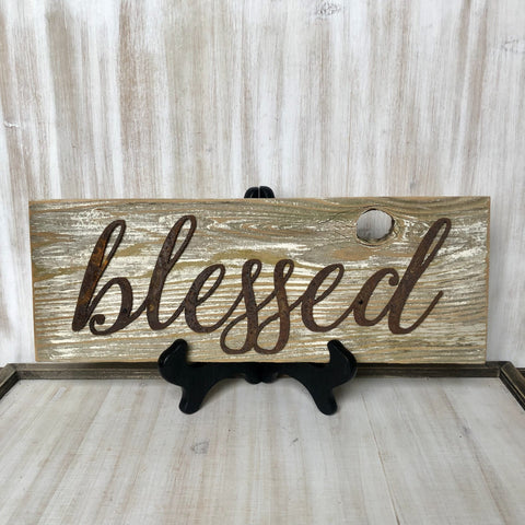 "Rusty Metal ""Blessed"" Script on Rustic Reclaimed Cedar Wood - Primitive Farmhouse Sign"