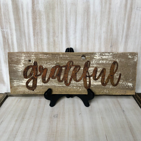 "Rusty Metal ""Grateful"" Script on Rustic Reclaimed Cedar Wood - Primitive Farmhouse Sign"