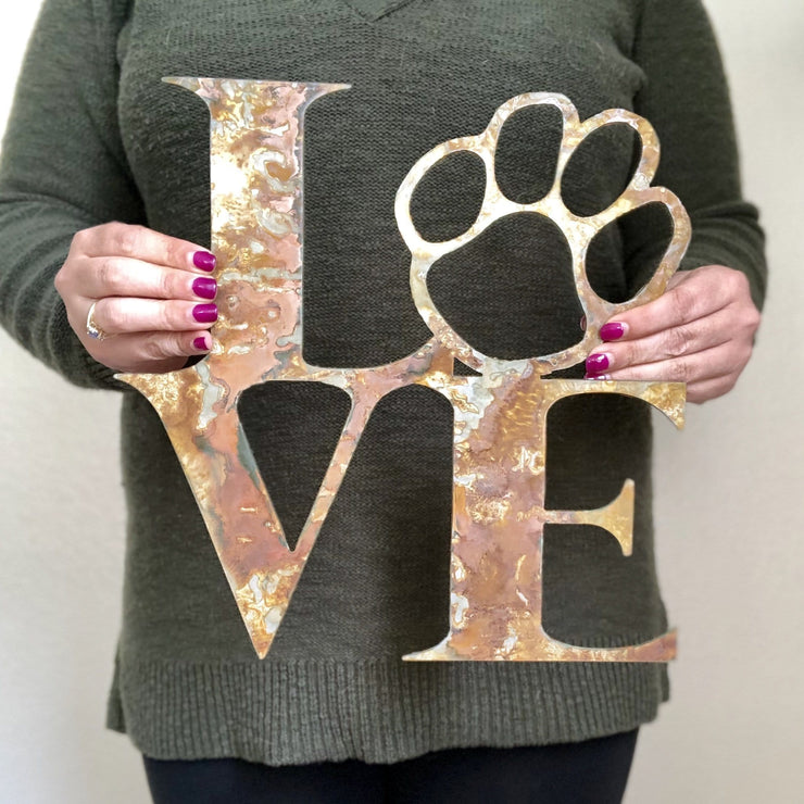 "Must Love Dogs - 12"" Rustic Metal Paw Print Sign"