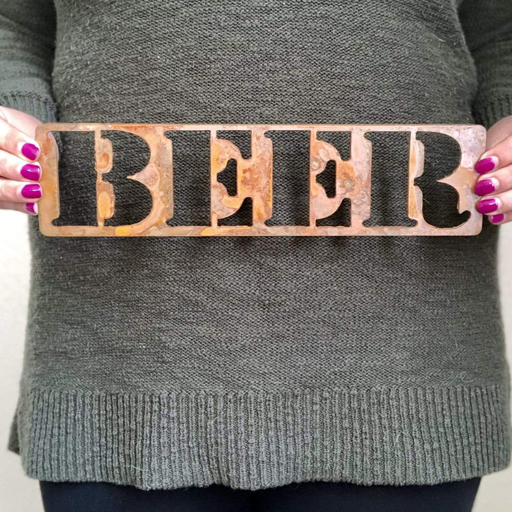 "Beer - 18"" Rustic Metal Sign"