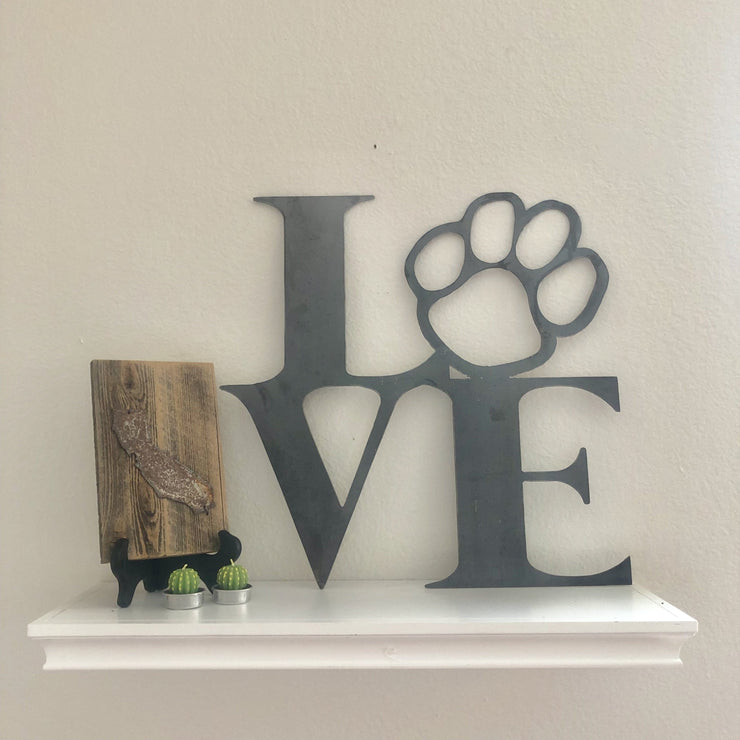 "Must Love Dogs - 12"" Raw Steel Metal Paw Print Sign"