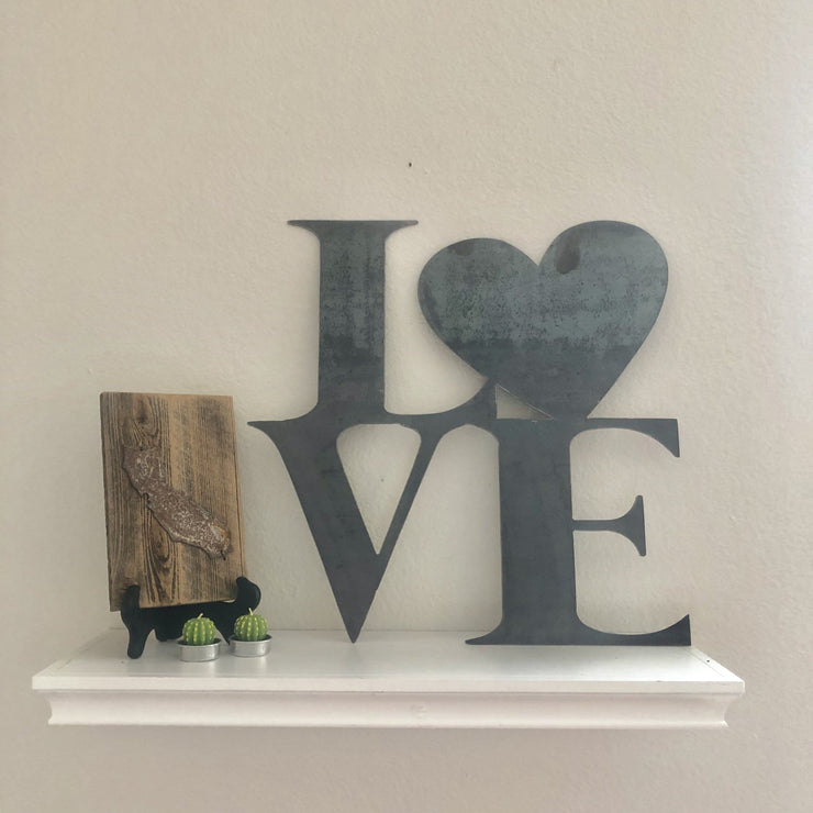 "Love - 18"" Raw Steel Metal Heart Sign"