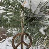"Boho - Rusted Metal Ornament Gift Set - ANCHOR, PEACE, HEART - 4"" tall"