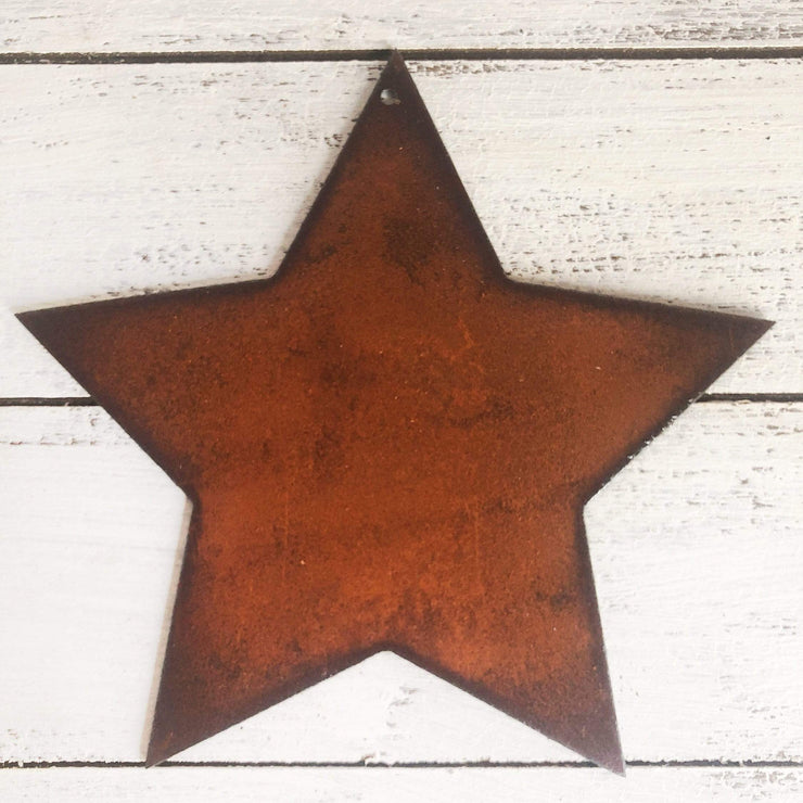 "Fat Star - 6"" Dark Brown Rustic Metal Star"