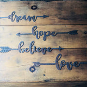 "Believe - 18"" Rustic Metal Boho Arrow"