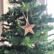 "Single or Set of 3...Rustic Metal STAR Ornament(s) - Rustic - 4"" tall"