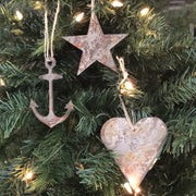 "Nautical - Rusted Metal Ornament Gift Set - ANCHOR, STAR, HEART - 4"" tall"
