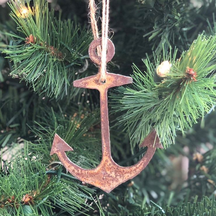 Nautical - Rusty Metal Ornament Gift Set - ANCHOR, STAR, HEART