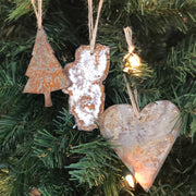 "Lake Tahoe - Rusted Metal Ornament Gift Set - TREE, TAHOE, HEART - 4"" tall"