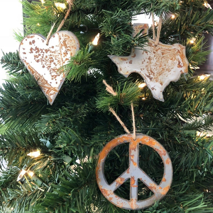Peace, Love, Texas - Rusty Metal Ornament Gift Set - PEACE, TEXAS, HEART
