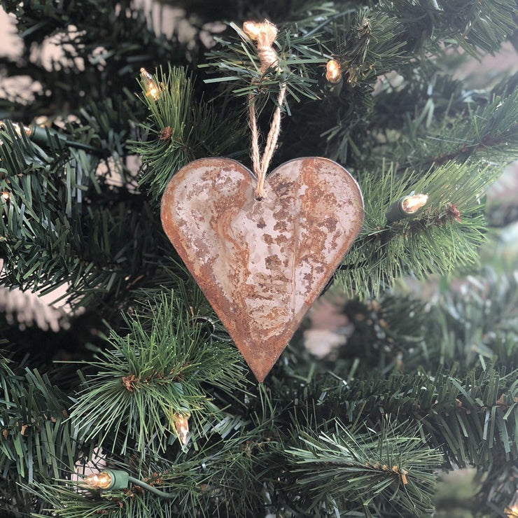 "Single or Set of 3...Rustic Metal HEART Ornament(s) - Rustic - 4"" tall"