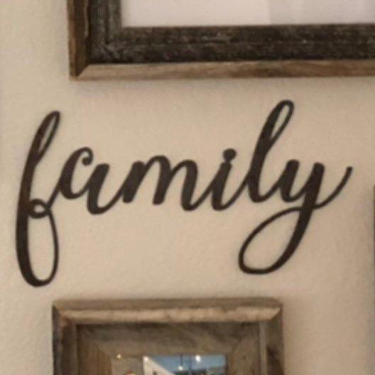 "Family - Thin - 24"" Rusty Metal Script Sign"