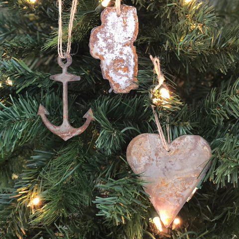 "Tahoe Lake Life - Rusted Metal Ornament Gift Set - ANCHOR, TAHOE, HEART - 4"" tall"