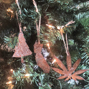 California Green Trees - Rusty Metal Ornament Gift Set - CA, TREE, MMJ