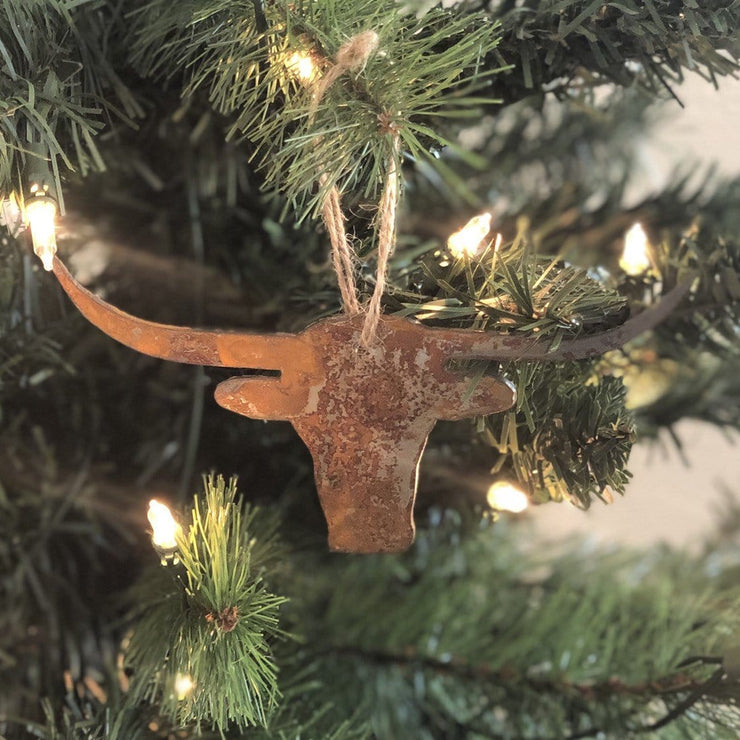 Single or Set of 3 Rusty Metal LONGHORN Ornament(s)