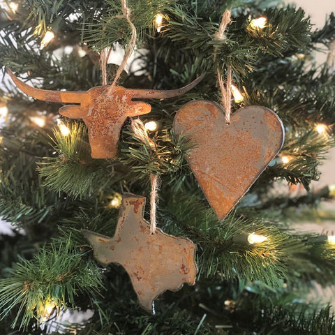 "Hook Em - Rusted Metal Ornament Gift Set - LONGHORN, TEXAS, HEART - 4"" tall"