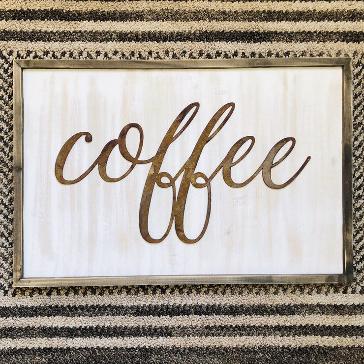 "Coffee - Thin - 18"" Rusty Metal Script Sign"