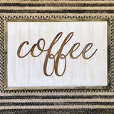 "Coffee - Thin - 18"" Rusted, Rustic Metal Script Sign"