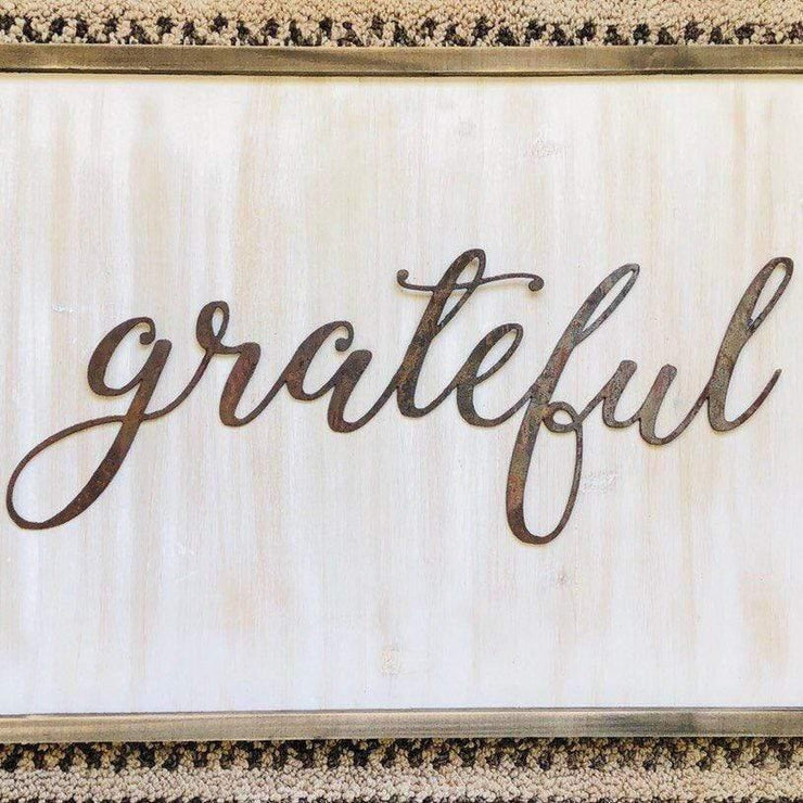 "Grateful - Thin - 18"" Rusty Metal Script Sign"
