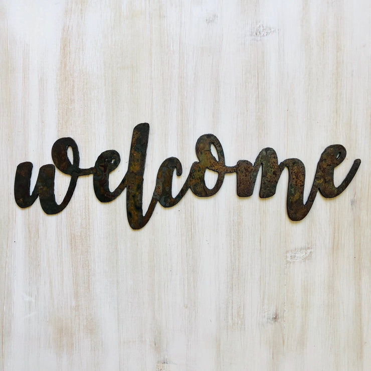 "Welcome - Bold - 18"" Rusted, Rustic Metal Script Sign"