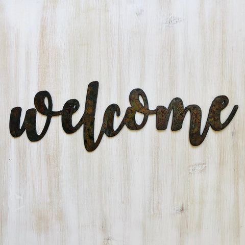 "Welcome - Bold - 18"" Rusted, Rusty Metal Script Sign"