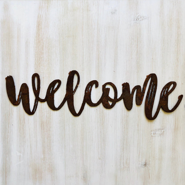 "Welcome - Dashed - 18"" Rusted, Rustic Metal Script Sign"