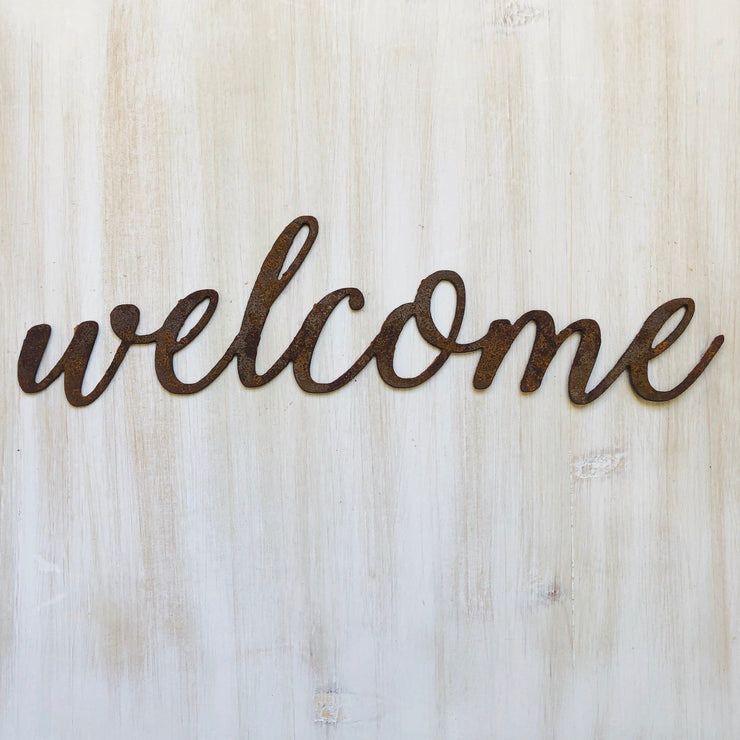 "Welcome - Thin - 18"" Rusted, Rustic Metal Script Sign"
