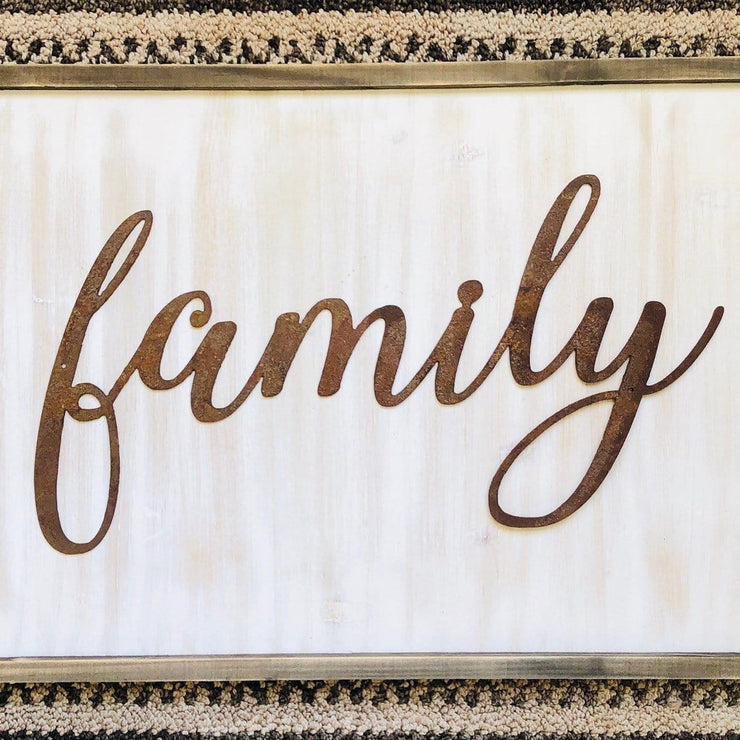 "Family - Thin - 18"" Rusty Metal Script Sign"