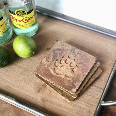 Bear Paw Print - Set of 4 Square Coasters - Rustic Metal Coasters