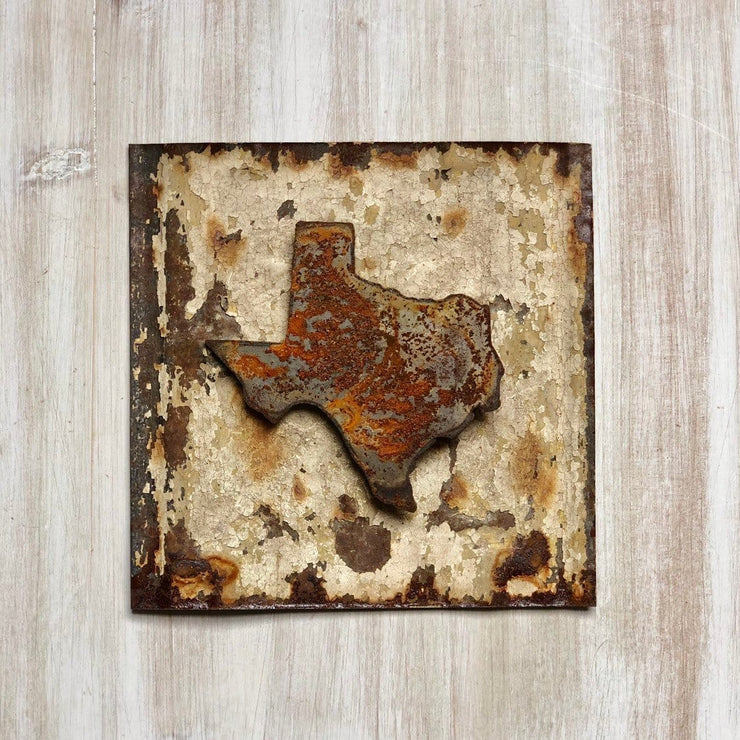 "Texas Magnet - 4"" Rustic Metal Texas State Magnet"