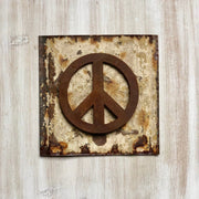 "Peace Sign Magnet - 4"" Rustic Metal Peace Magnet"
