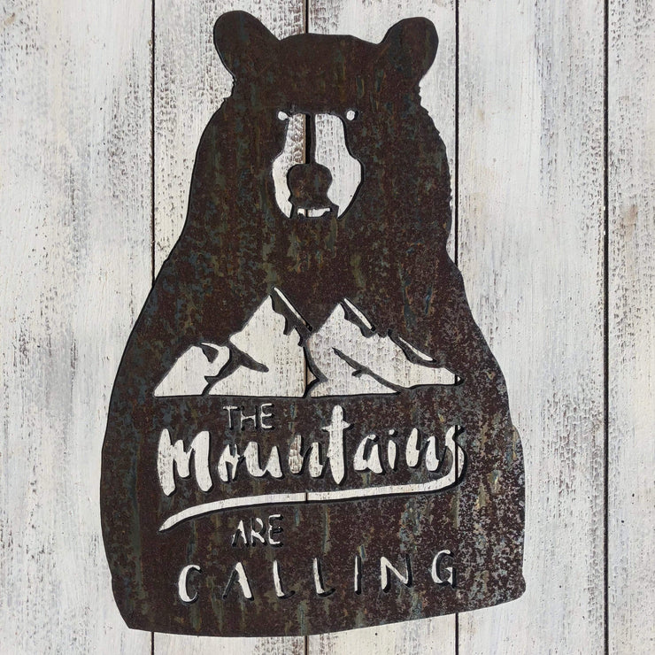 "Mountains Are Calling - 24"" Rustic Metal Bear Sign"