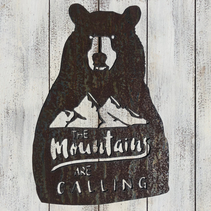 "Mountains Are Calling - 18"" Rustic Metal Bear Sign"