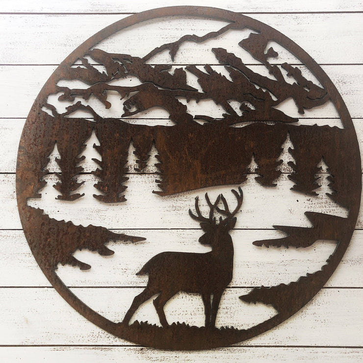 "Round Buck Scene - 18"" Rustic Metal Deer Mountain Sign"