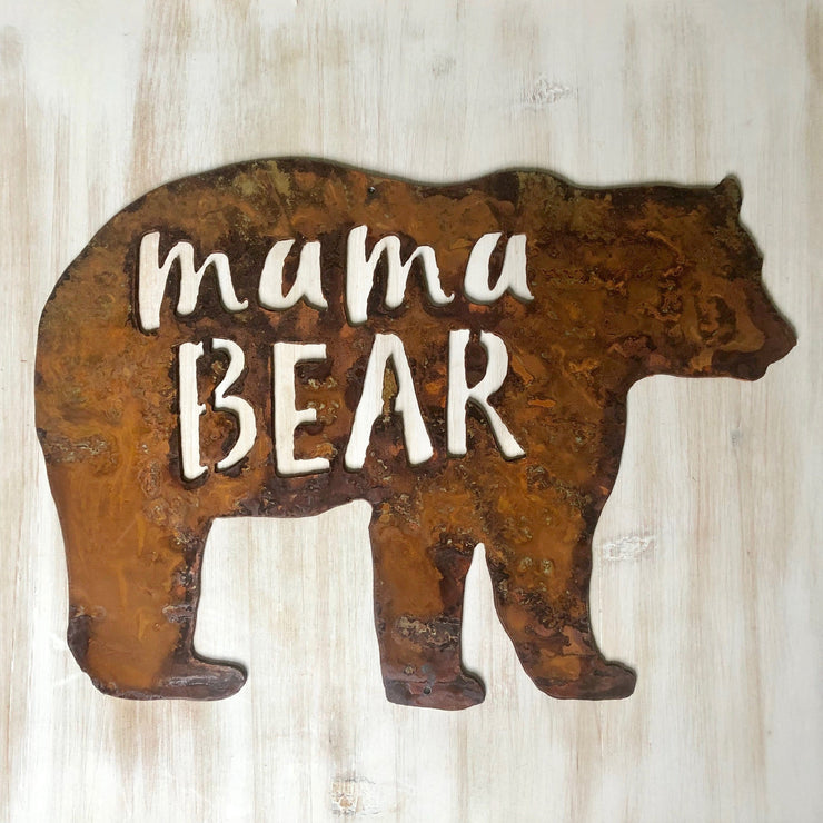 "Mama Bear - 18"" Rustic Metal Bear"