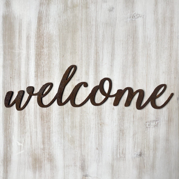 "Welcome - Thin - 15"" Rusty Metal Script Sign"
