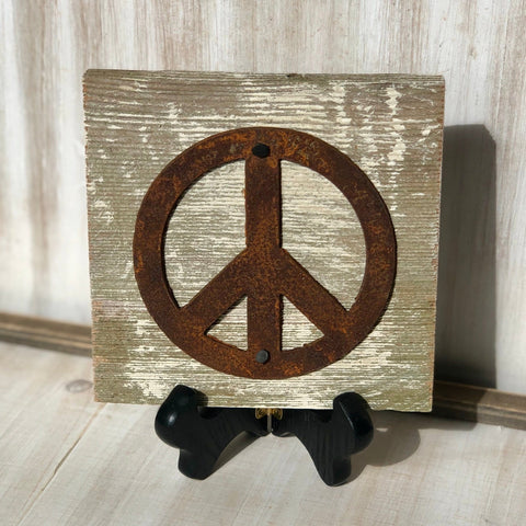 "Rusty Metal ""PEACE SIGN"" on White Wash Rustic Reclaimed Cedar Wood - Primitive Farmhouse Sign"