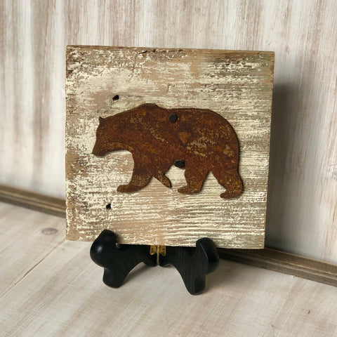 "Rusty Metal ""BEAR"" on White Wash Rustic Reclaimed Cedar Wood - Primitive Farmhouse Sign"
