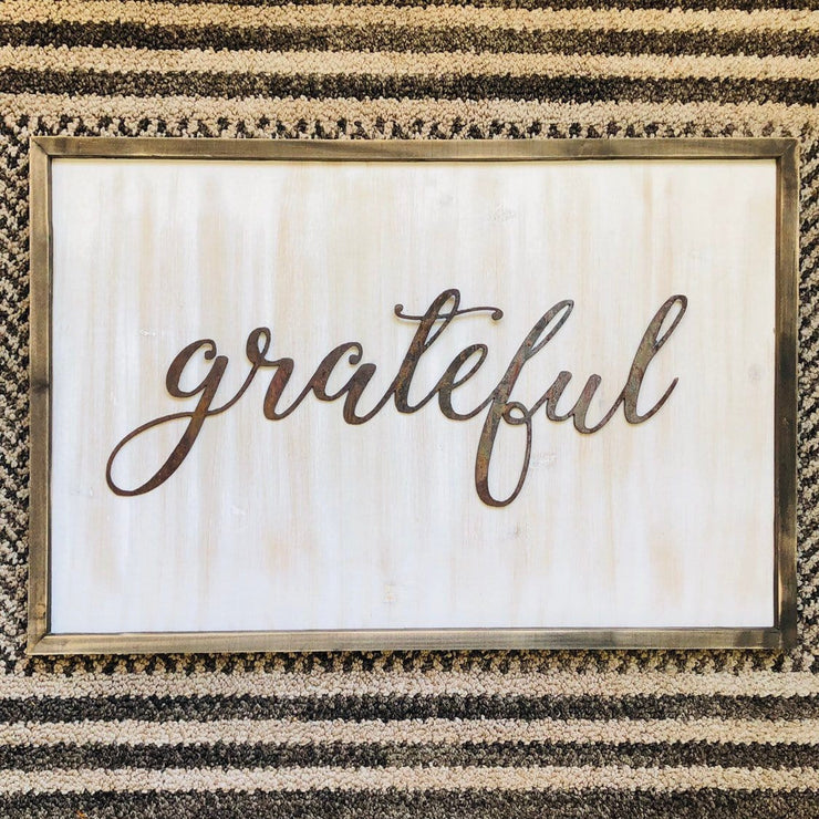 "Grateful - Thin - 15"" Rusty Metal Script Sign"