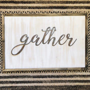 "Gather - Thin - 18"" Rusty Metal Script Sign"