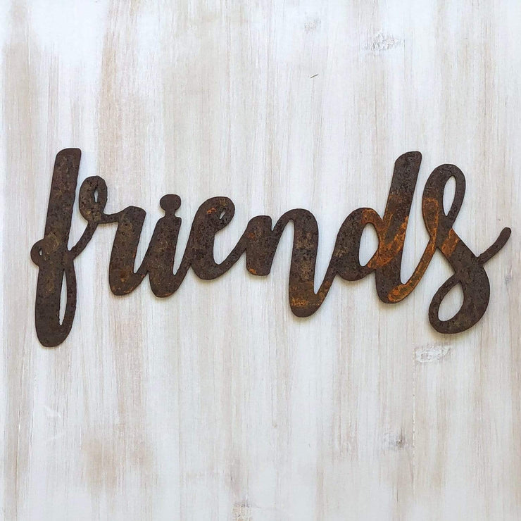 "Friends - Bold - 24"" Rusty Metal Script Sign"