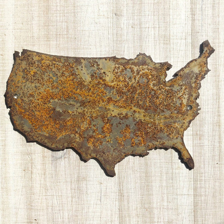 "United States - 6"" Rusty Metal USA Outline"