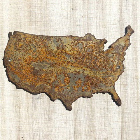 "United States - 6"" Rusty, Rustic, Rusted Metal USA Outline - Make your own Sign, Gift, Art"