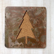 Evergreen Tree - Set of 4 Square Coasters - Rustic Metal Coasters