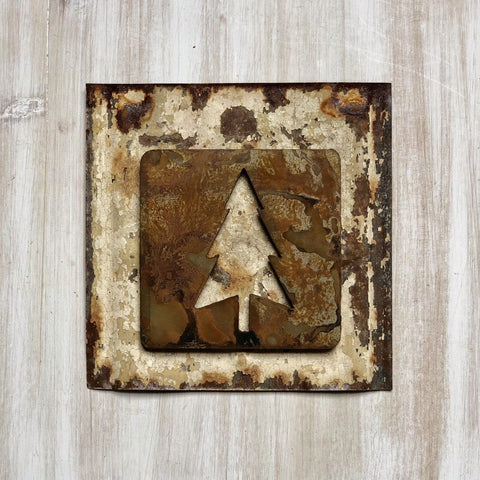 "Evergreen Tree Magnet - 4"" Rustic Metal Square Tree Cutout Magnet"