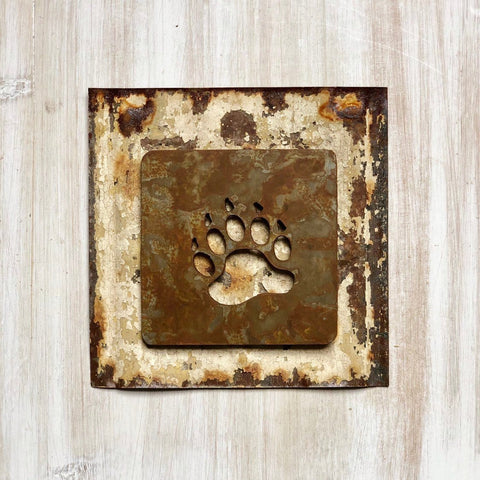 "Bear Paw Magnet - 4"" Rusty, Rustic Metal Square Bear Paw Cutout Magnet"