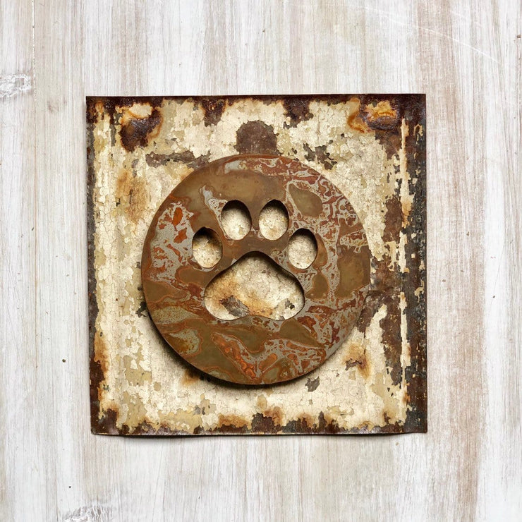 "Paw Print Magnet - 4"" Rustic Metal Square Paw Cutout Magnet"