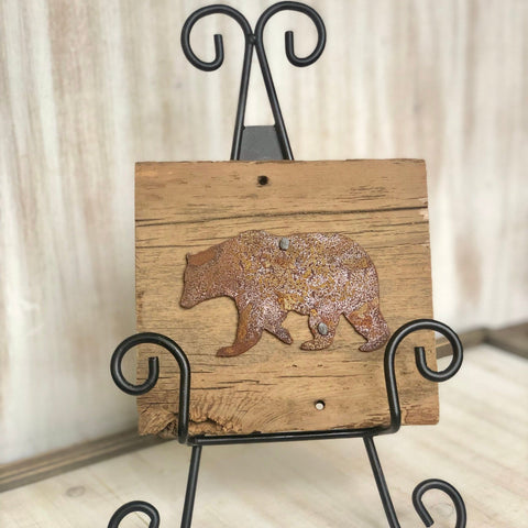 "Rusty Metal ""BEAR"" on Rustic Reclaimed Cedar Wood - Ready to Hang - Primitive Farmhouse Sign"