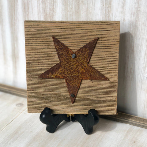 "Rusty Metal ""STAR"" on Rustic Reclaimed Cedar Wood - Ready to Hang - Primitive Farmhouse Sign"