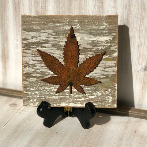 "Rusty Metal ""MMJ LEAF"" on White Wash Rustic Reclaimed Cedar Wood - Ready to Hang - Primitive Farmhouse Sign"